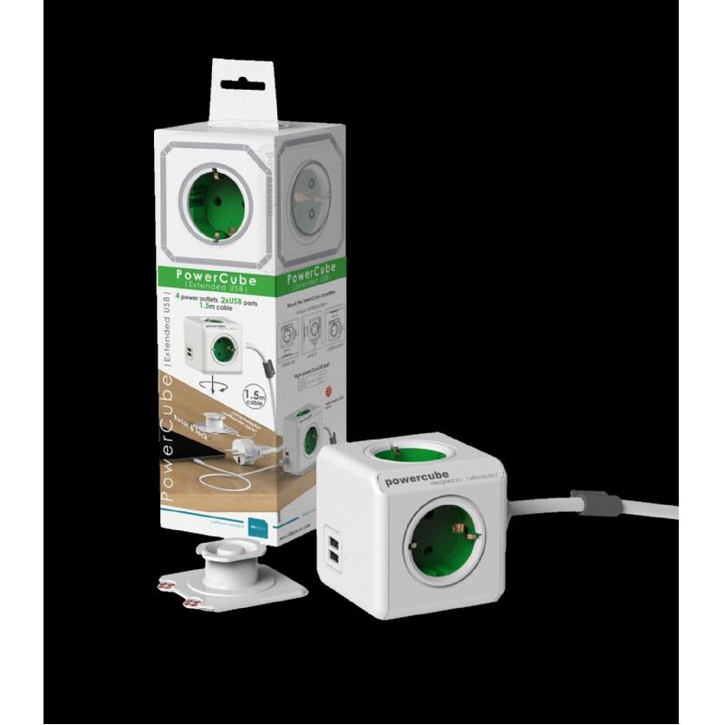 reisstekkerdoos met 4 ingebouwde stopcontacten en verlengsnoer