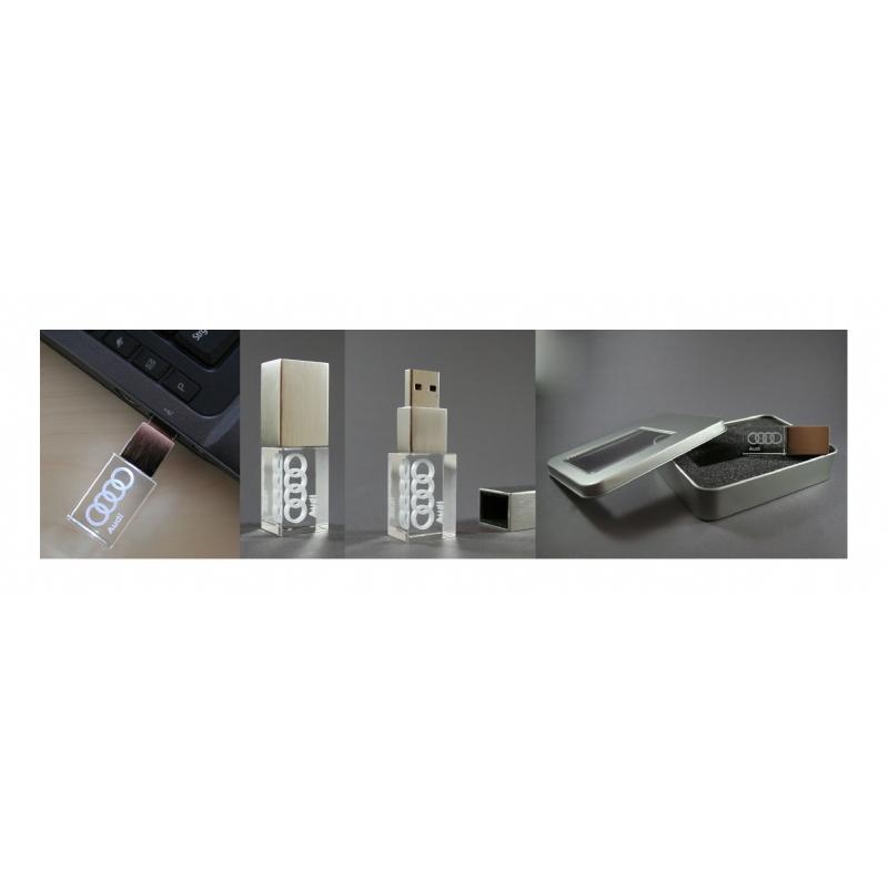 USB stick in glaskristal en metaal