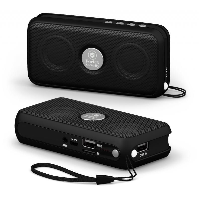 Powerbank, speaker, zaklamp, handenvrij bellen EN radio in 1