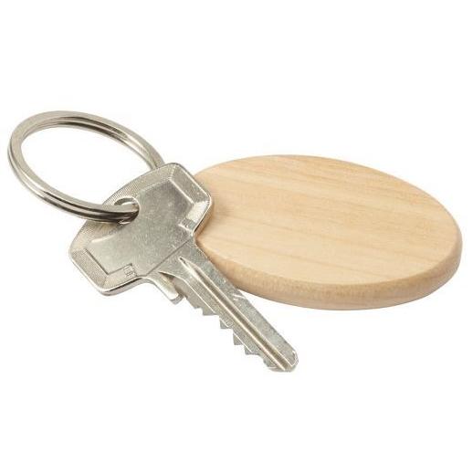 Ovale houten sleutelhanger