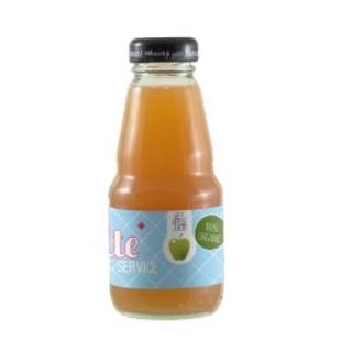Glazen flesjes met biologisch vruchtensap