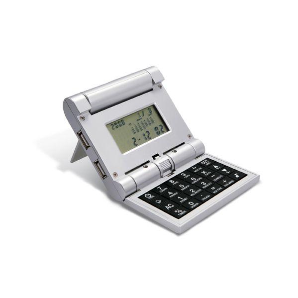 Wereldtijdenklok met rekenmachine en 3 USB hubs