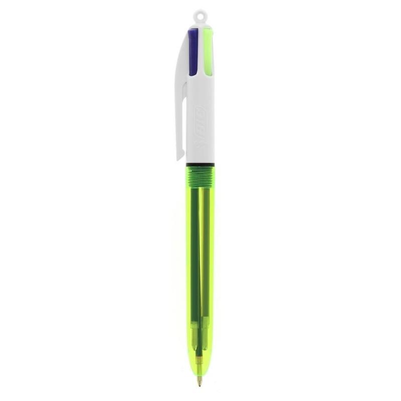 4 kleuren BIC balpen met fluo markeerstift