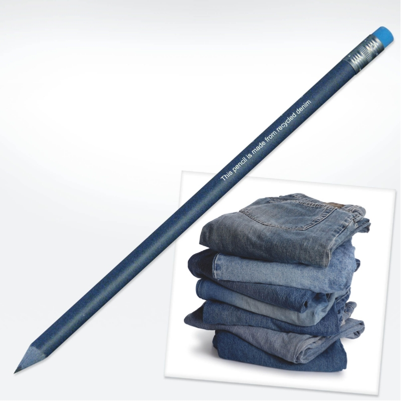 Potlood gemaakt van oude spijkerbroeken.