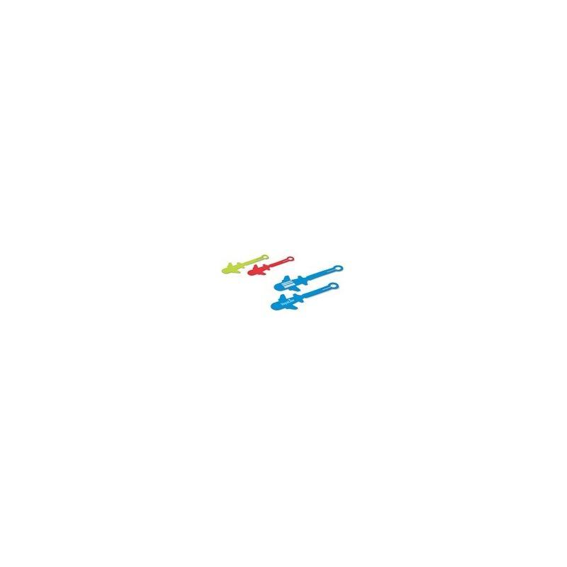 Bagagelabel in de vorm van een vliegtuig