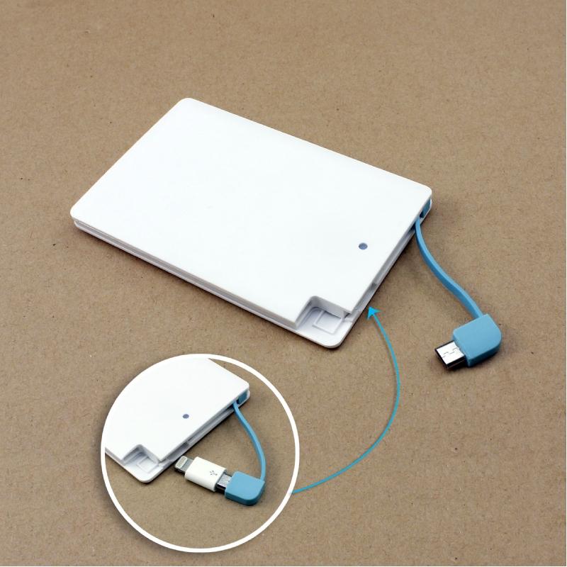 Ultra dunne powerbank met geïntegreerde kabel