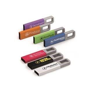 Kleurrijke USB stick met geïntegreerde sleutelhanger