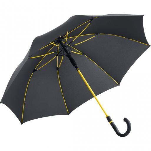 Zwarte paraplu met gekleurde accenten