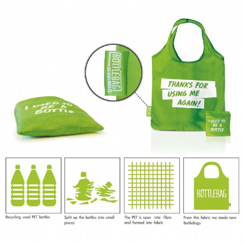 Draagtas uit 100% gerecycleerde PET flessen