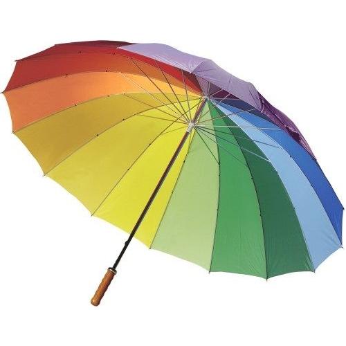 Golfparaplu met regenboogkleuren