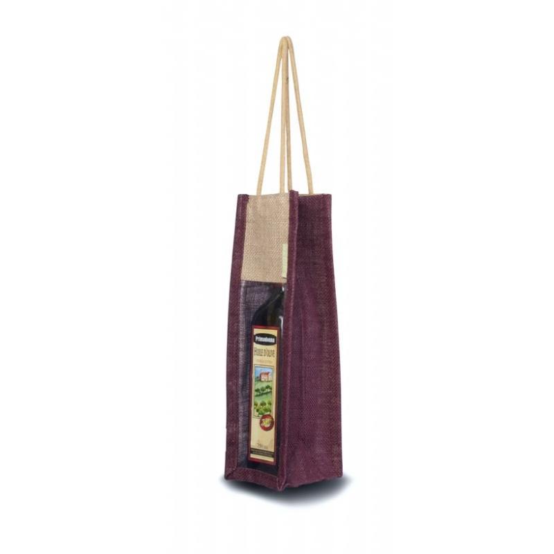 Jute wijntas model Transparant (1 fles)