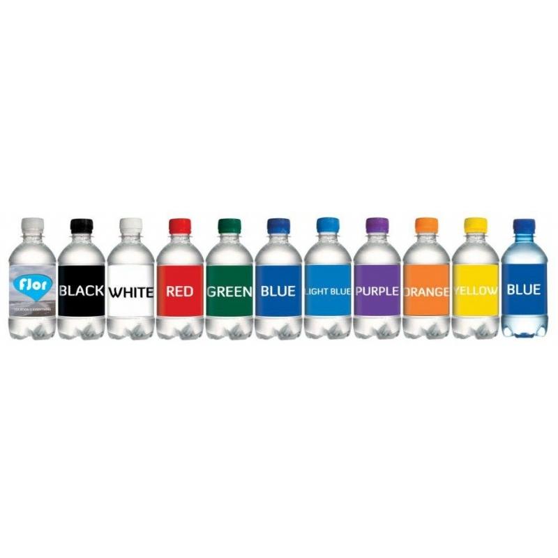 Flesje water met dop in 10 verschillende kleuren